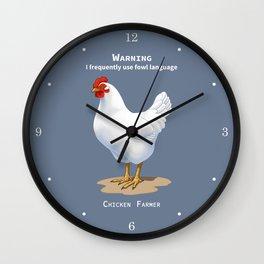 Funny White Leghorn Hen Fowl Language Chicken Farmer Wall Clock