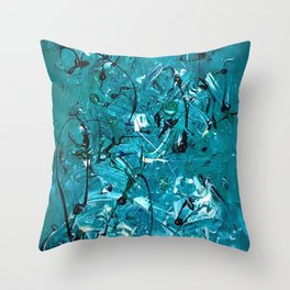 Green Chaos Throw Pillow