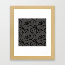 Rose pattern black and grey Framed Art Print