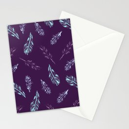 Pencil Feathers Pattern on Purple Stationery Cards