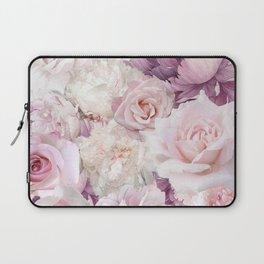 Big Pink Roses And Soft Summer Botanical Rose Garden Laptop Sleeve