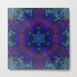Bioluminescent Tribal Lotus Metal Print