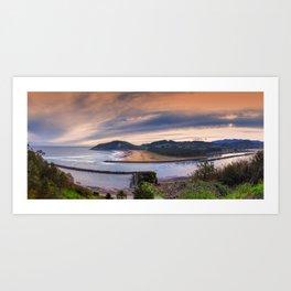 Rodiles beach in Asturias, Spain. Art Print
