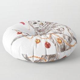 Christmas Owl GREETING Floor Pillow