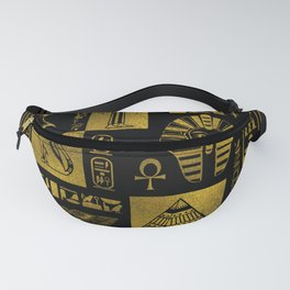 Egyptian  Gold hieroglyphs and symbols collage Fanny Pack