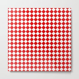 VERY SMALL RED AND WHITE HARLEQUIN DIAMOND PATTERN Metal Print