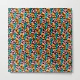 Pink Orange Aqua Oval Pattern Metal Print