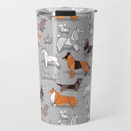Origami doggie friends // grey linen texture background Travel Mug