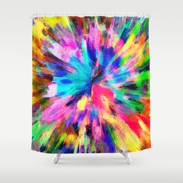 color explosion gogh pattern gostd Shower Curtain