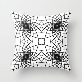 Geometric Spiral Line Art Pattern Tile Throw Pillow