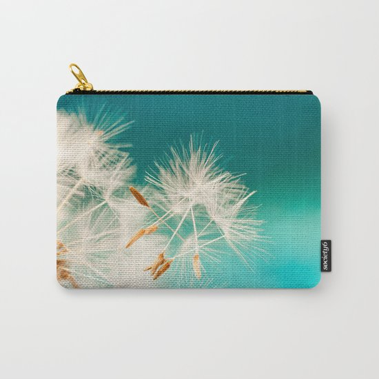 dandelion seeds blowing in turquoise Carry-All Pouch