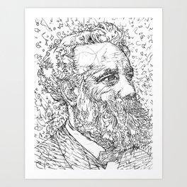 JULES VERNE pencil portrait .1 Art Print