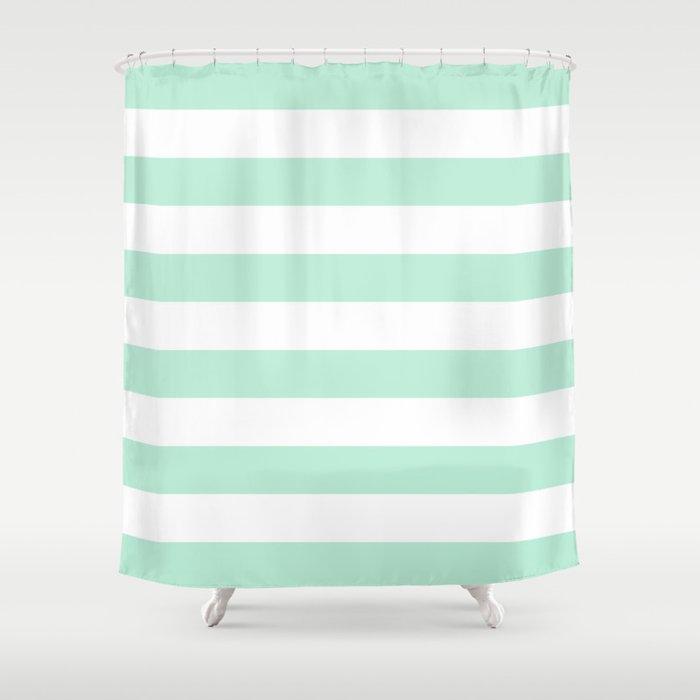 Stripe Horizontal Mint Green Shower Curtain By
