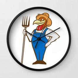 Chicken Farmer Pitchfork Isolated Cartoon Wall Clock