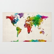 Watercolor Map of the World Map Rug