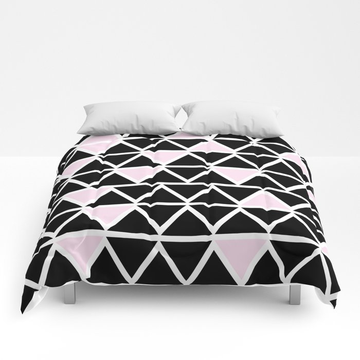 Abstract geometric triangle pattern- pink-black Comforters