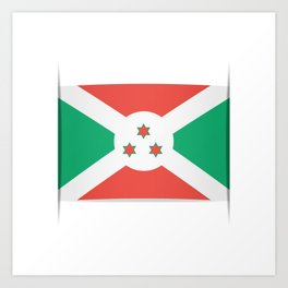 Flag of Burundi.  The slit in the paper with shadows. Art Print