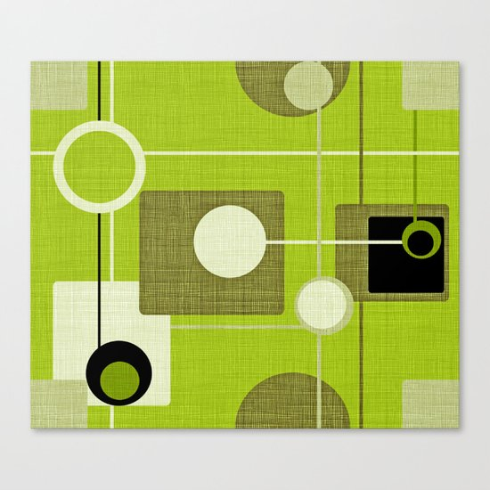 orbs and squares acid green Canvas Print