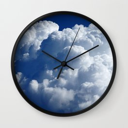Fluffy White Clouds on the Blue Wall Clock