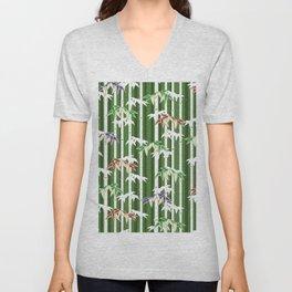 Vintage oriental Bamboo pattern Unisex V-Neck