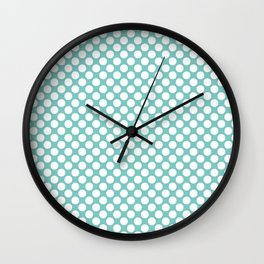 Polka dots - turquoise and white Wall Clock
