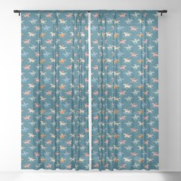 Naked derby dark blue Sheer Curtain