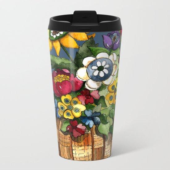 Happy Flowers Metal Travel Mug