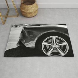 Super Car // Sexy Wheel Base Low Rims Dark Charcol Gray Black and White Rug