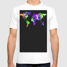 One Colourful World / Blue SMALL Mens Fitted Tee White
