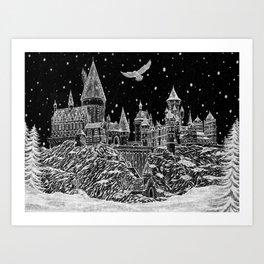 Holiday at Hogwart Art Print