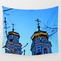 russia Wall Tapestries featuring Cupolas, Church of the Ascension, Russia by Svetlana Korneliuk