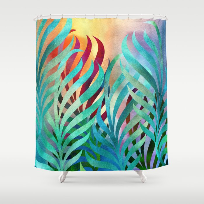 tropical palms shower curtain by klaraacel society6. Black Bedroom Furniture Sets. Home Design Ideas