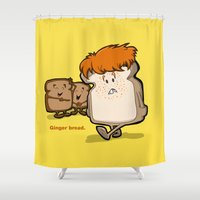 bread Shower Curtains featuring Ginger Bread by BinaryGod.com