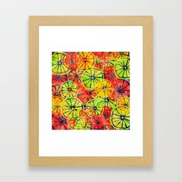 Summer Lemons, Colorful Pattern Framed Art Print