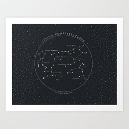 Spring Constellations Astronomy Star Chart Art Print