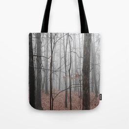 Woods on a Foggy Sunday Stroll Tote Bag