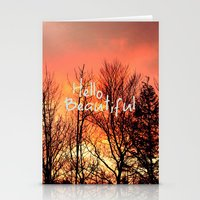 hello beautiful Stationery Cards featuring Hello Beautiful  by Rachel Burbee