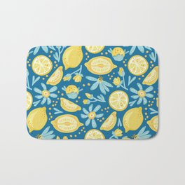 Lemon Pattern Blue Bath Mat