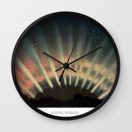 Vintage Aurora Borealis Northern Lights galaxy stars nebula antique space art drawing print Wall Clock