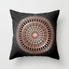 Rose Gold Black Mandala Throw Pillow