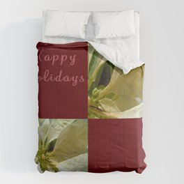 Pale Yellow Poinsettia 1 Happy Holidays Q10F1 Comforters