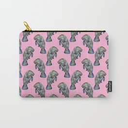 Pink Watercolor Manatee Pattern Carry-All Pouch