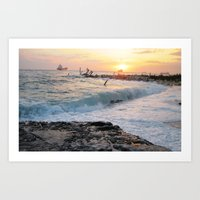 Evening at the Harbour Art Print