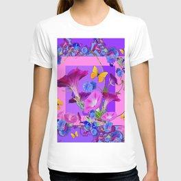 BUTTERFLIES & PURPLE-BLUE MORNING GLORY VINES  PINK VINETTE T-shirt