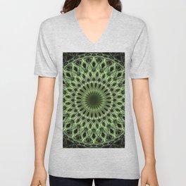 Bright green mandala Unisex V-Neck