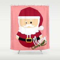 santa Shower Curtains featuring Santa by Kimono Hyun