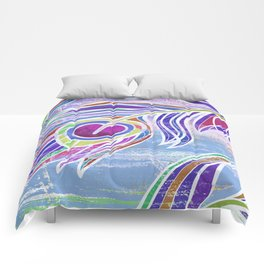 Lilac and blue peacock feathers print Comforters