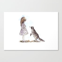 Girl and Racoon Canvas Print