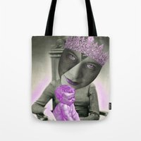 madonna Tote Bags featuring LADY MADONNA by Julia Lillard Art