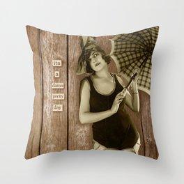 Pretty day lady Throw Pillow
